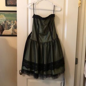 Dark green and black short formal